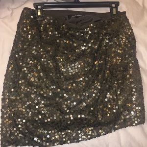 Nanette Lepore Cognac Pailette Mini Skirt